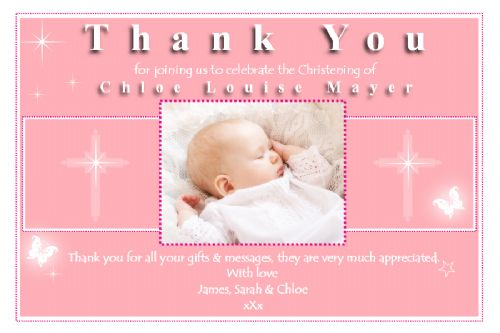 10 Personalised Girls Christening Baptism Thankyou PHOTO Cards N154